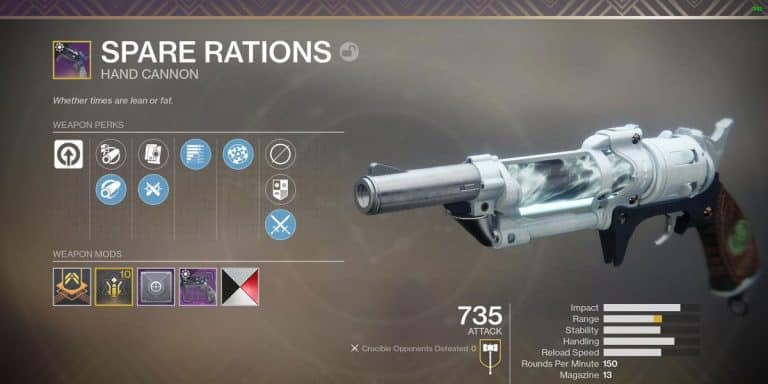 How To Get Spare Rations In Destiny 2? (Legendary Hand Cannon Guide)