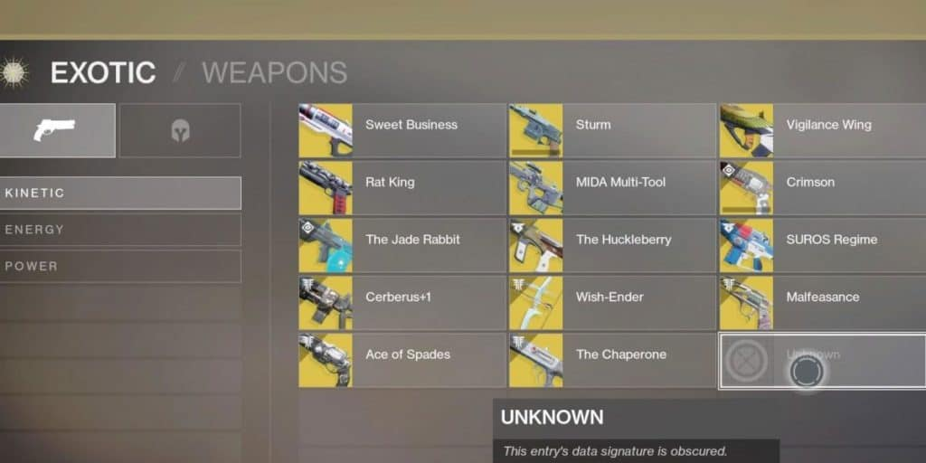 Destiny 2: List Of Exotic Weapons And Armour